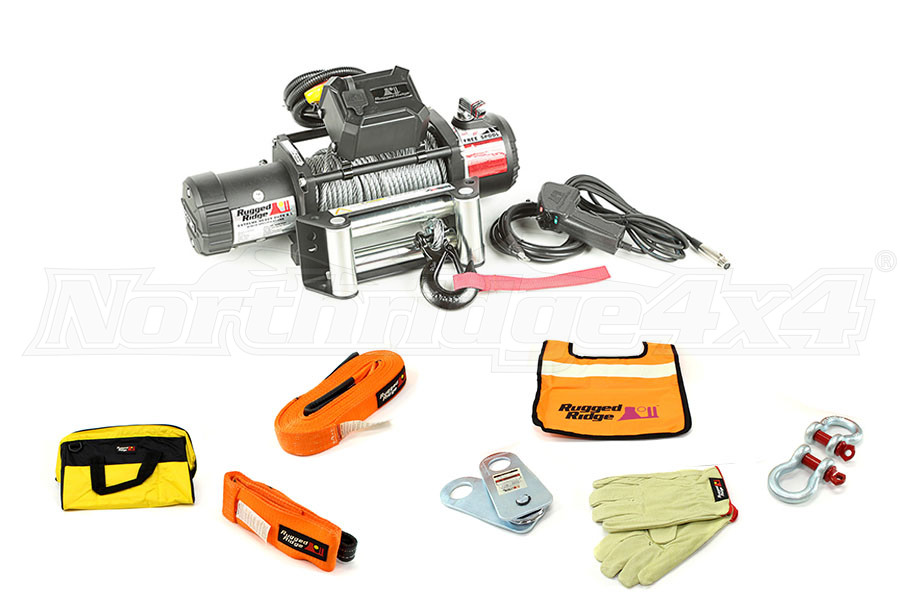 Rugged Ridge Winch w/ Recovery Gear Kit (Part Number:WINCHPKG)