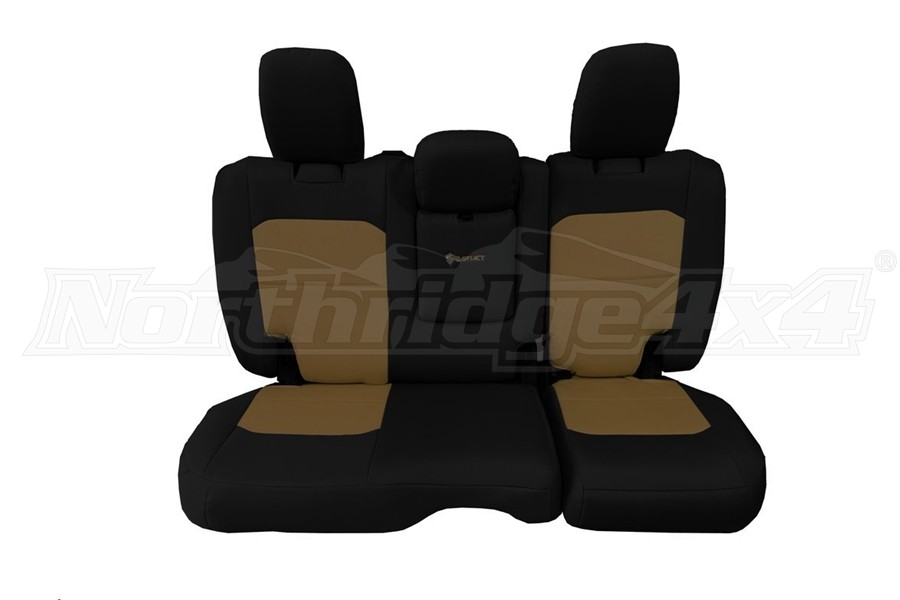 Bartact Tactical Rear Seat Cover w/Fold Down Armrest Black/Coyote (Part Number:JLSC2018RFBC)