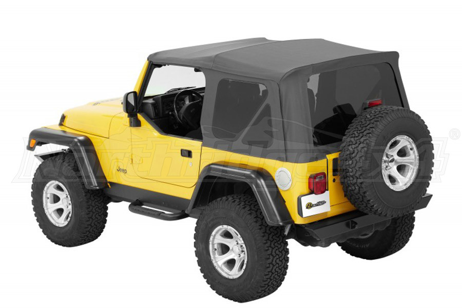 Bestop Twill Supertop NX Soft Top with Tinted Rear and Side Windows, No Doors, Complete Soft Top - Grey Twill (Part Number:54822-70)