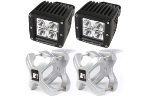 Rugged Ridge Small X-Clamp/Square LED Light Kit, Silver (Part Number: )