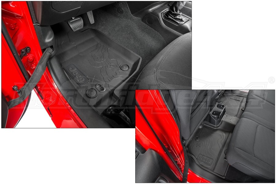 Mopar All-Weather Front and Rear Floor Mats w/ Black Logo - JL 4dr