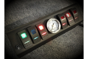 sPOD 6 Switch w/ Air Gauge and Double LED switches & Source System Red - JK