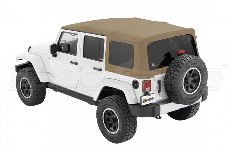 Bestop Twill Supertop NX Soft Top with Tinted Rear & Side Windows, No Doors, Pebble Twill (Part Number:54823-74)