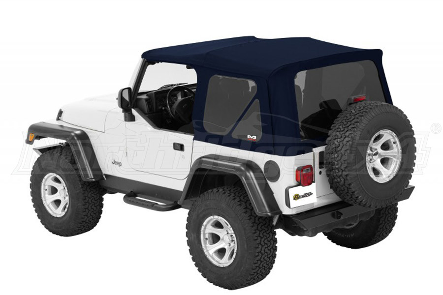 Bestop Twill Supertop NX Soft Top with Tinted Rear and Side Windows, No Doors, Complete Soft Top - Blue Twill (Part Number:54822-69)