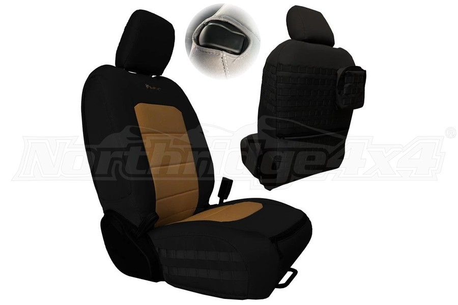 Bartact Tactical Series Front Seat Covers, SRS Air Bag And Non Compliant - Black/Coyote  - JL 2Dr