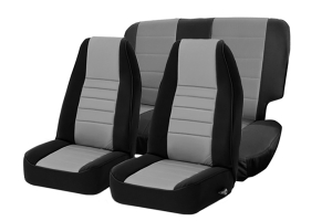 Smittybilt Neoprene Front and Rear Seat Covers with Black Sides / Charcoal Center ( Part Number: 471422)