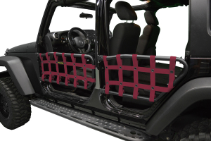 Dirty Dog 4X4 Olympic Front & Rear Tube Door Netting, Maroon - JK 4DR