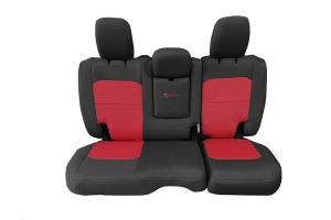 Bartact Tactical Rear Seat Cover w/Fold Down Armrest Graphite/Red (Part Number: )