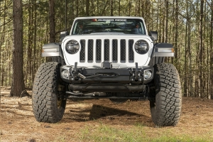 Rugged Ridge Arcus Front Stubby Bumper w/ Winch Tray and Tow Hooks  - JT/JL