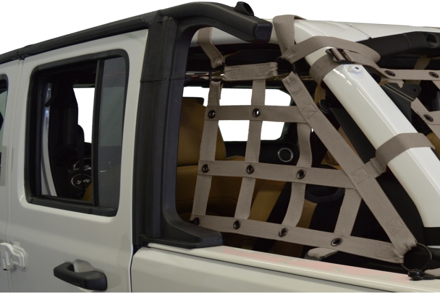 Dirty Dog 4x4 2pc Cargo side only Netting Kit, Grey - JL 4Dr
