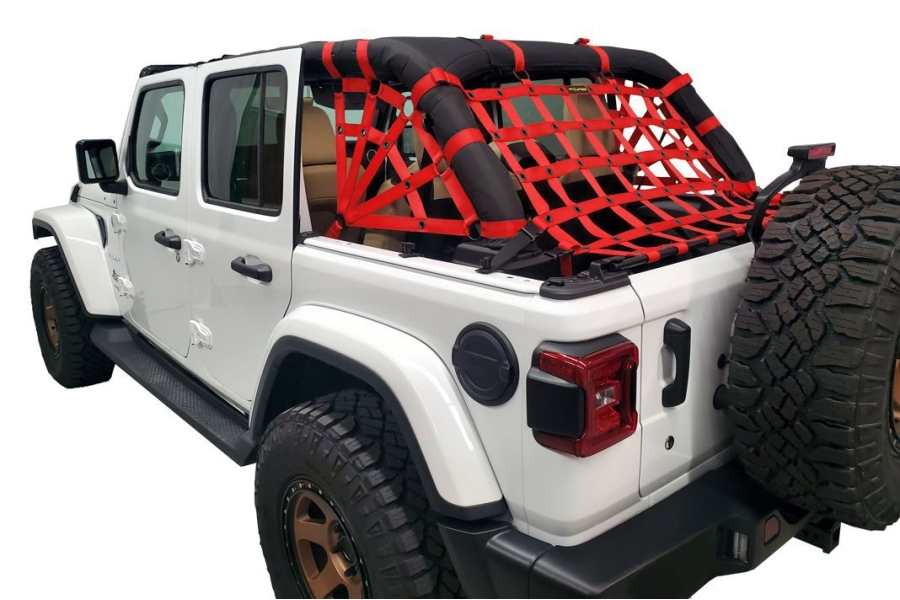 Dirty Dog 4x4 Netting Kit Spider Sides 3pc Red - JL 4dr