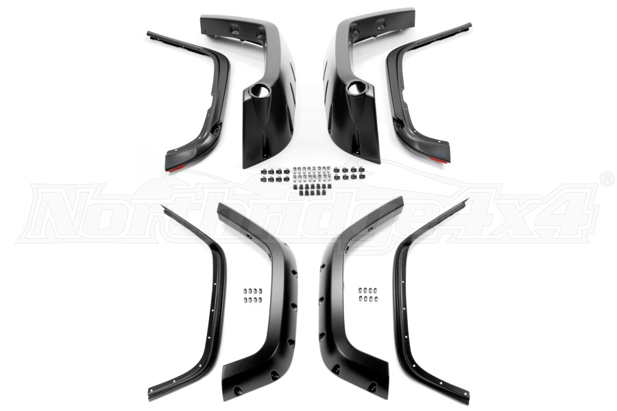 Bushwacker Extended Coverage Pocket Style Fender Flare Front and Rear Set Matte Black - JK