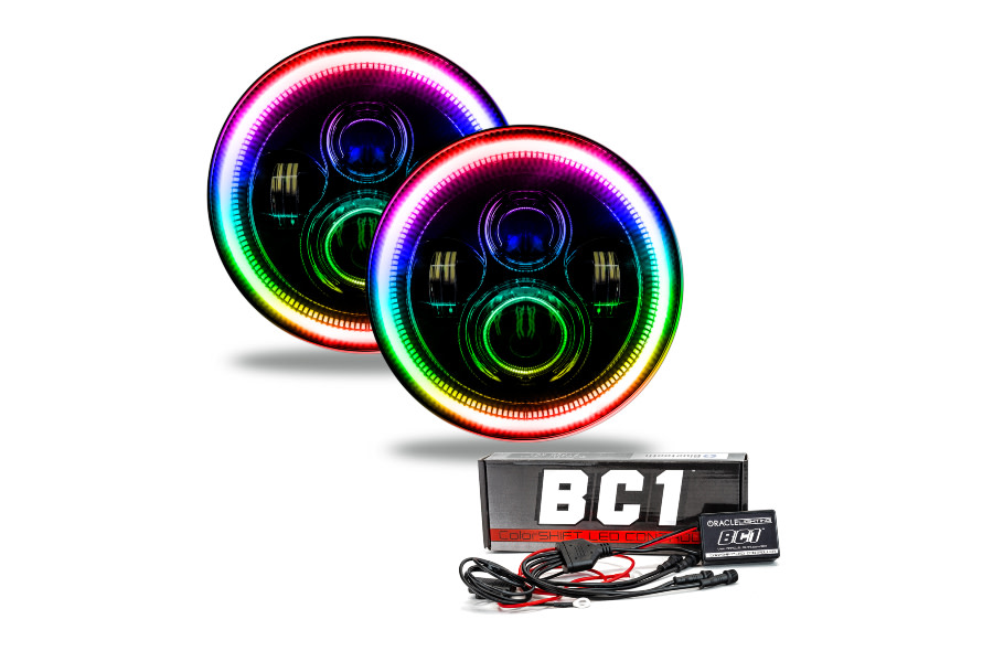 Oracle 7in High Powered LED Headlights Black Bezel ColorSHIFT BC1