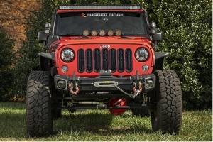 Rugged Ridge Arcus Front Bumper Set w/ Tray and Hooks  - JK