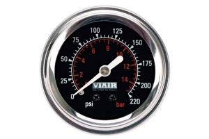 Viair 2.0 Inch Single Needle Illuminated Gauge 220 PSI - Black Face