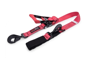 SpeedStrap 2in x 8ft Rachet Tie Down w/ Twisted Snap Hooks and Axle Strap Combo, Red  (Part Number: )