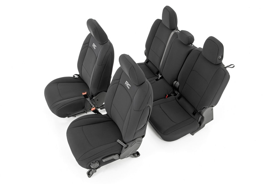 Rough Country Neoprene Seat Cover Set - Black  - JT w/o Rear Cup Holders