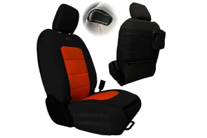 Bartact Tactical Series Front Seat Covers, SRS Air Bag and Non-Compliant - Black/Orange  - JL 2Dr