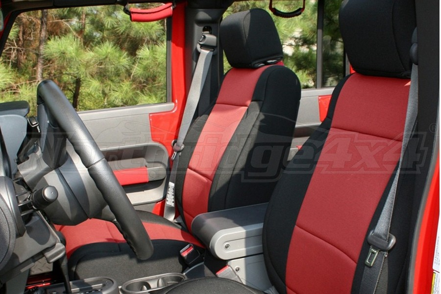 Rugged Ridge Seat Cover Kit Black/Red (Part Number:13296.53)