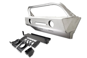 Evo Manufacturing Front Alumilite Bumper w/ Fog Lights Provisions, Hoop and Skid Plate - JT/JL