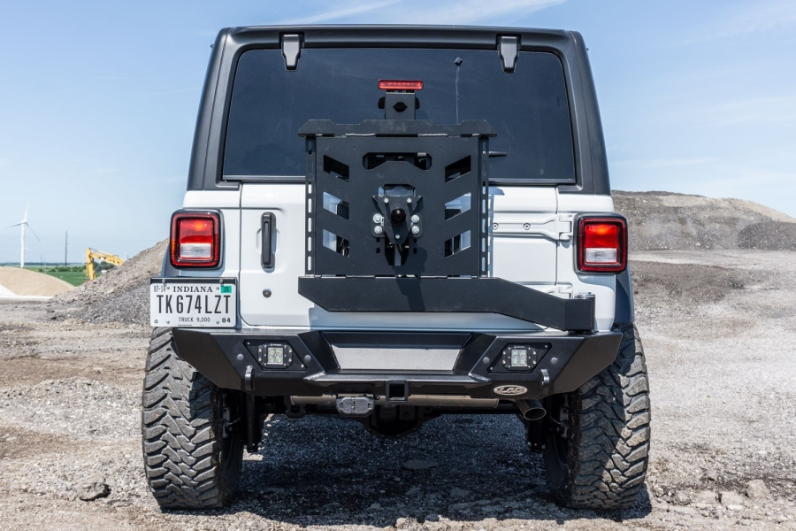 LOD Destroyer Shorty Rear Bumper w/Tire Carrier, Black  - JL