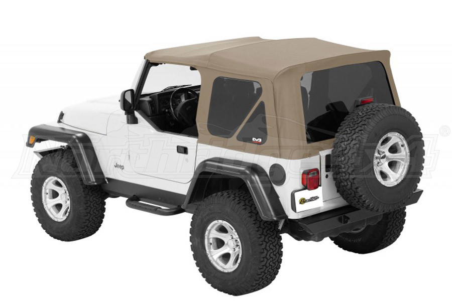 Bestop Twill Supertop NX Soft Top with Tinted Rear and Side Windows, No Doors, Complete Soft Top - Pebble Twill (Part Number:54822-74)