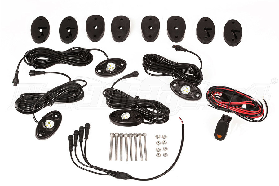 Rugged Ridge White LED Rock Light Kit with Harness, 4-pc - JL/JK