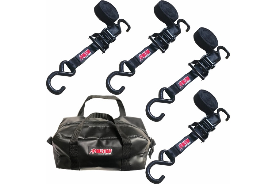 Bartact Bull Straps 1in x 12ft Medium Duty Ratchet Straps w/Recovery Bag - Set of 4