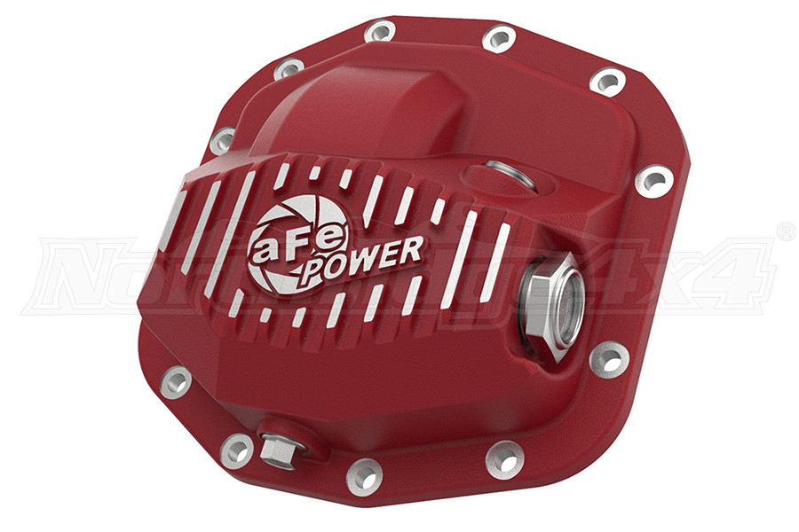 AFE Power Street Series Rear Differential Cover Red w/ Machined Fins, M186-12 - JL