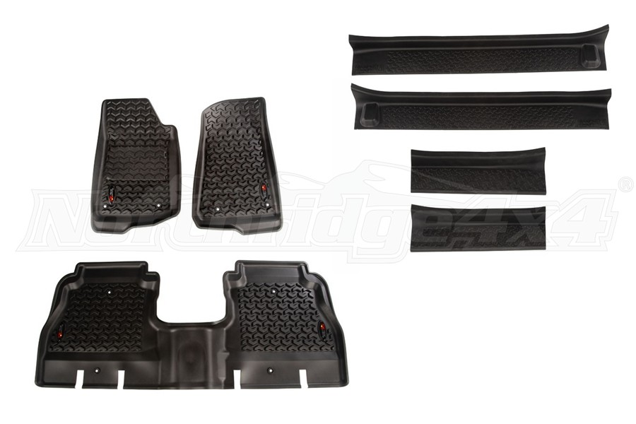 Rugged Ridge All Terrain Floor Liner Kit w/Door Entry Guards Package - JL 4Dr