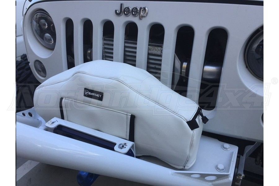 Bartact Winch Cover for Warn Zeon 10 and 12K Winch, Vinyl White (Part Number:WCWVRVW)