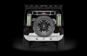 LOD Signature Series Full Width Rear Bumper w/Tire Carrier and Round Light Cut Outs Bare Steel (Part Number: )