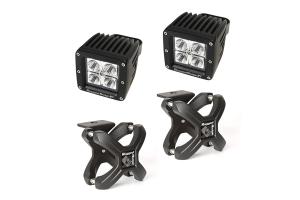 Rugged Ridge Large X-Clamp/Square LED Light Kit, Black (Part Number: )