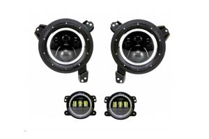 Quake LED White DRL Halo and Amber Turn Signal Headlight/Fog Light Set - JL/JT