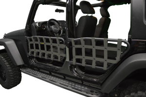 Dirty Dog 4X4 Olympic Front & Rear Tube Door Netting, Olive Drab Green - JK 4DR