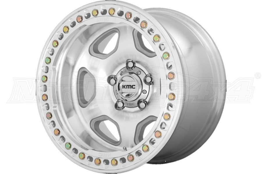 KMC Wheels HEX Series Beadlock Wheel, 17x9 5x5 - Machined - JT/JL/JK