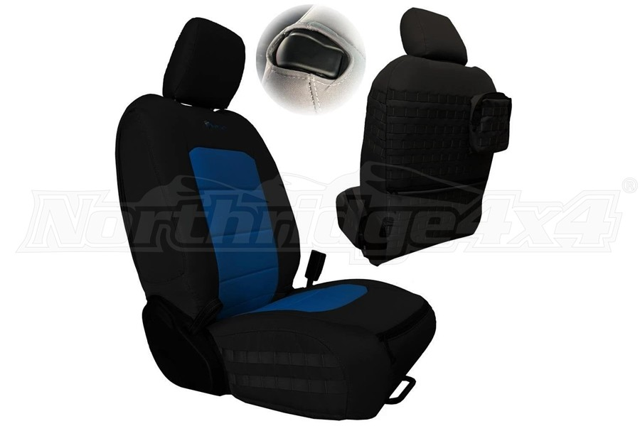 Bartact Tactical Series Front Seat Covers, SRS Air Bag and Non-Compliant - Black/Blue  - JL 2Dr