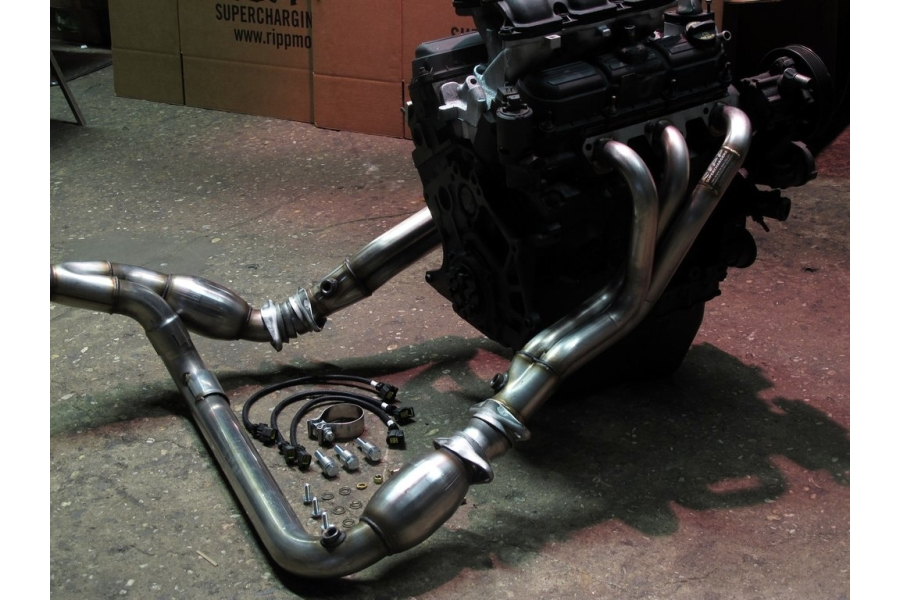 RIPP Superchargers Long-Tube Headers w/Hush Power Resonator (Part Number:0711JK38-LTHDR-HSH)