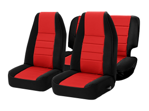 Smittybilt Neoprene Front and Rear Seat Covers with Black Sides / Red Center ( Part Number: 471430)