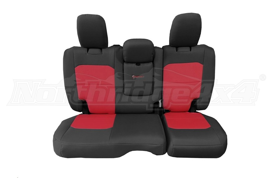 Bartact Tactical Rear Seat Cover w/Fold Down Armrest Graphite/Red (Part Number:JLSC2018RFGR)