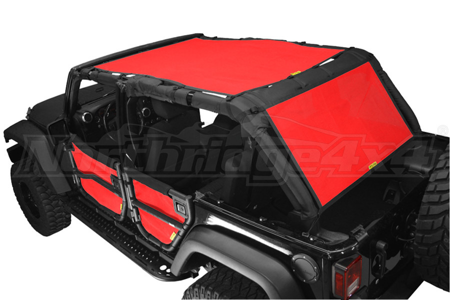 Dirty Dog 4x4 Sun Screen 2 Piece Front Back and Rear Red (Part Number:J4SS07SCRD)