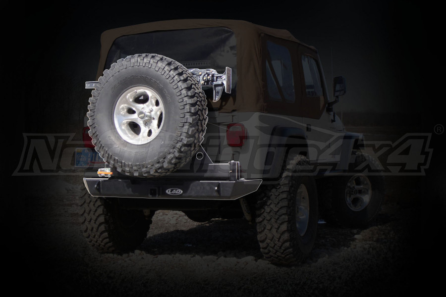 LOD Signature Series Rear Bumper w/Tire Carrier and No Light Provisions Black Powder Coated (Part Number:JBC9601)