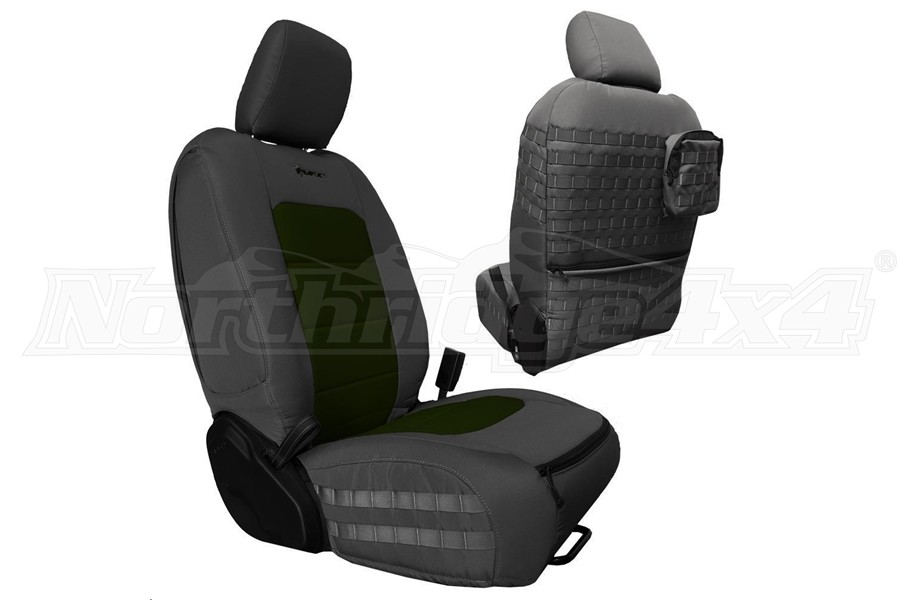 Bartact Tactical Front Seat Covers Graphite/Olive (Part Number:JLTC2018FPGO)