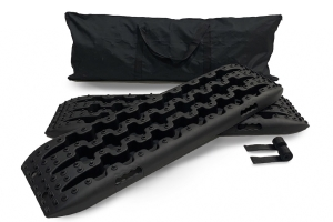 Overland Vehicle Systems Recovery Ramp With Pull Strap and Storage Bag - Gray/Black