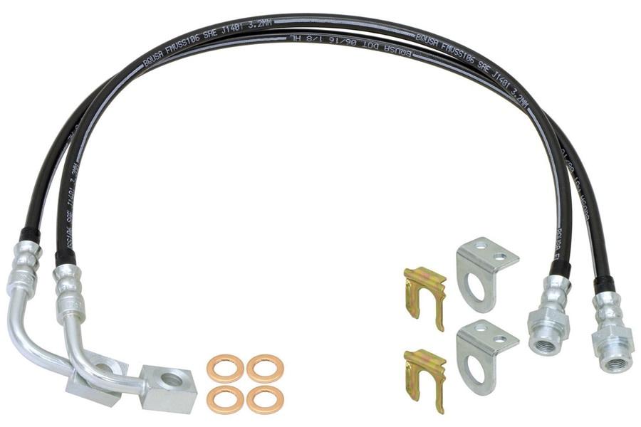 RockJock Front Braided Brake Hose Kit - 35in Long - JK 2014+