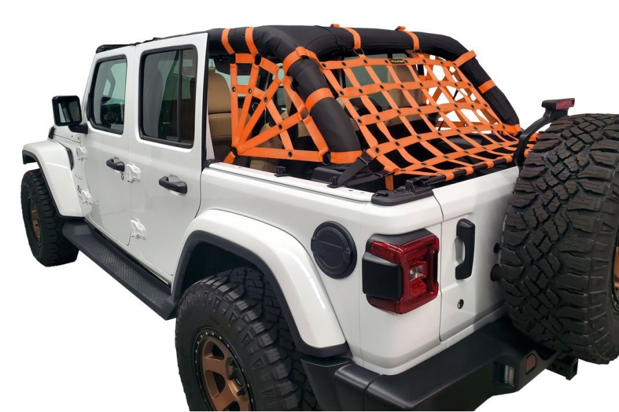 Dirty Dog 4x4 Netting Kit Spider Sides 3pc Orange - JL 4dr