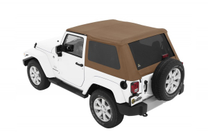 Bestop Trektop NX Plus Soft Top with Tinted Side & Rear Windows - Tan Twill - JK 2DR