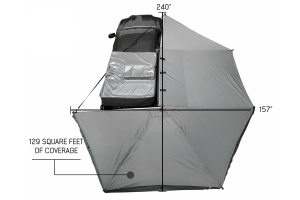 Overland Vehicle Systems Nomadic 270-Degree Awning w/ Wall 1, 2, 3 and Mounting Brackets - Passenger Side