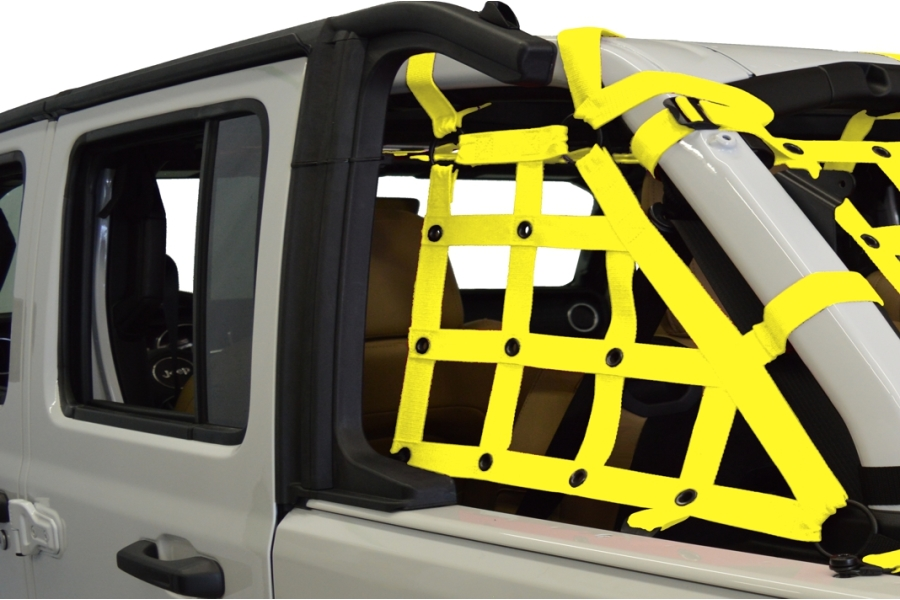 Dirty Dog 4x4 2pc Cargo side only Netting Kit, Yellow - JL 4Dr