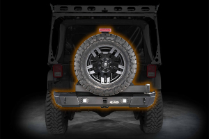 LOD Signature Series Armor Lite Gen 4 Shorty Rear Bumper w/Door Linked Tire Carrier and Rigid Cut Outs, Black (Part Number: )